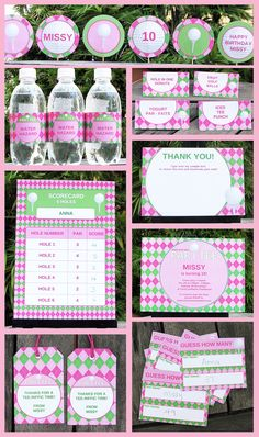 Girl Golf Party Invitation & Printable Party Collection, EDITABLE text PDF file - you personalize at home with Adobe Reader. $14.95, via Etsy.
