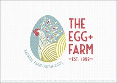 Logo for sale by LogoMood.com - Melanie D Modern and whimsical chicken egg farm logo design. A stylized chicken is designed within an egg shape design with stylized farm field hills incorporated into the egg design to create the chicken's body. Burst of natural leaf shapes are added within the design to add style and finesse to this farm chicken egg logo design.