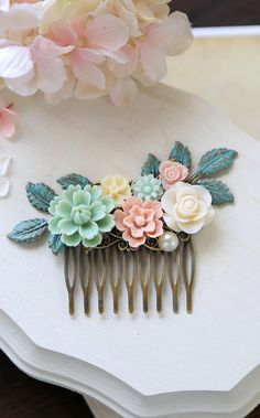 Verdigris Leaf and Flowers Hair Comb, Mint Pink Ivory Floral Hair Comb, Rustic Wedding, Garden Wedding Bridal Hair Accessory by LeChaim. www.etsy.com/... For more wedding inspiration please visit www.lolabeeandme.com