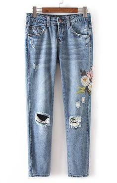 Specifications: Decoration:Button,Embroidery,Hole,Pockets Fit Type:Regular Pant Style:Straight Pattern Type:Floral Front Style:Flat Style:Fashion Waist Type:Mid Fabric Type:Denim Material:Cotton,Polye