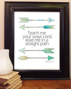 Bible Verse Art, Scripture Printable, Psalm 27:11, Bible Verse Wall Art