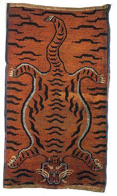 19th-century Tibetan tiger rug, photo by giovanni garcia-fenech