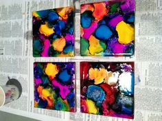 Coasters made with alcohol ink and tiles
