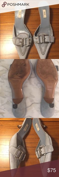 Authentic Prada Suede Metal Clasp  - Size 6 / 36 Women's authentic Prada heels. Wear on bottom as shown. Great condition. Open to offers. No dust bag or box. Prada Shoes Heels