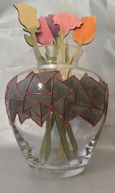 Hand Painted Glass Vase - Copper Grey Troika Design £24.95