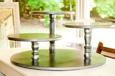 Items similar to Cake Stand Rustic Silver Wedding Party or Catering Centerpiece Vintage Shabby Chic or Cupcake Stand Cake Stand Country on Etsy Diy Etagere, Rustic Cake Stands, Cake And Cupcake Stand, Cupcake Display, Wedding Cupcakes Display, Diy Cupcake, Catering Display, Catering Food, Catering Ideas
