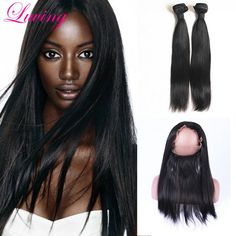 97.92$  Watch now - http://alihrh.worldwells.pw/go.php?t=32763410485 - 7A 360 Lace Frontal With Bundles Peruvian Straight Hair Extension With 360 Lace Frontal Closure Adjustable Straps With Bundles