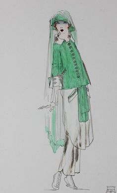 Lucile studio fashion sketches, circa 1916, two signed : Lot 70
