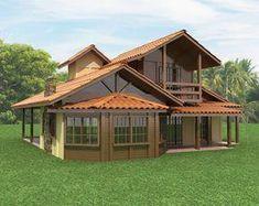 Casas de Madeira: 60+ Modelos e Projetos Incríveis! #CasasCampo Small House Design, Dream Home Design, Log Home Kits, Shed Homes, Log Cabin Homes, Construction Design, Sims House, Roof Design, Wooden House