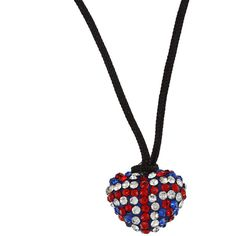 La Preciosa Sterling Silver UK Flag Crystal Heart Black Cord Necklace ($16) ❤ liked on Polyvore featuring jewelry, necklaces, white, long chain necklace, long pendant necklaces, white bead necklace, bead chain necklace and sterling silver bead necklace