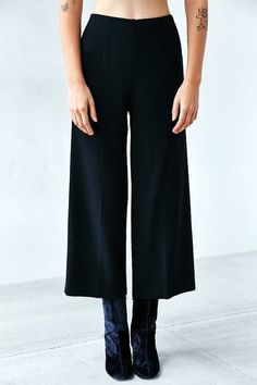 cropped wide-leg pants & tall velvet ankle boots #style #fashion #culottes #fall