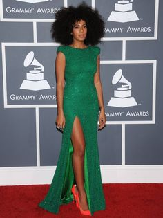Not to be outdone by her sister, Solange Knowles looked fantastic in this bright green, sparkly dress with a thigh high split. And this is clearly a woman who knows her footwear... We're absolutely obsessed with those orange shoes!