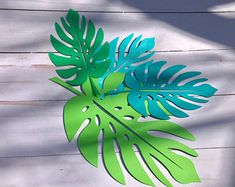 Paper leaves, green leaves, leaves cut outs, Pack of 5 leaves, palm leaves, palm leaf, tropical leaves