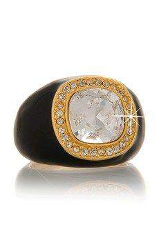 KENNETH JAY LANE DUTCHESS Black Enamel Ring PRET-A-BEAUTE.COM $102