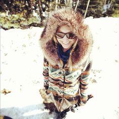 Keepin warm in laska #alaska #snow #winter #coat #girl #blonde #eskimo #smile Photo: @abekislevitz (Taken with Instagram at Fairbanks, Alaska)
