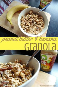 Peanut Butter & Banana Granola; crisp and crunchy healthy granola clusters full of great peanut butter banana flavour!