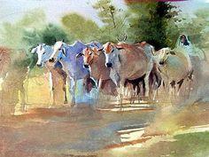 Art Of Watercolor: Millind Mulick. Watercolor Paintings Nature, Cow Painting, Indian Art Paintings, Watercolor Artists, Gouache Painting, Watercolor Animals, Watercolor Landscape, Animal Paintings, Watercolors