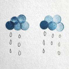 Pencil Eraser Stamping rainclouds
