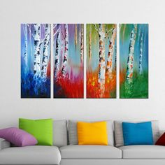 Forest 'Colors Come Alive' 4-piece Hand-painted Oil on Canvas - Overstock™ Shopping - Top Rated DESIGN ART Canvas