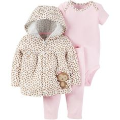 f6356604cd0 Child of Mine by Carter s - Child Of Mine Baby Girl Monkey Cardi Set -  Walmart.com