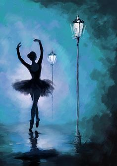 Ballet In The Night Art Print by Corporate Art Task Force. All prints are professionally printed, packaged, and shipped within 3 - 4 business days. Choose from multiple sizes and hundreds of frame and mat options. Simple Oil Painting, Easy Canvas Painting, Simple Acrylic Paintings, Painting Art, Painting Flowers, Diy Canvas, Ballerina Kunst, Ballerina Painting, Ballerina Sketch