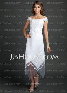 Wedding Dresses - $142.29 - Sheath/Column Off-the-Shoulder Tea-Length Satin Tulle Wedding Dress With Beadwork (002015354) http://jjshouse.com/Sheath-Column-Off-The-Shoulder-Tea-Length-Satin-Tulle-Wedding-Dress-With-Beadwork-002015354-g15354