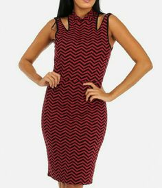 "ZIG ZAG Stripes Midi Dress Stretchy body hugging dress with high neck Sleeveless with front cut outs.  Back keyhole with button closure. 95% Polyester 5% Spandex. Length from Underarm 29"" Dresses Midi"