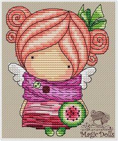 Easy Cross Stitch Patterns, Simple Cross Stitch, Mandala Sketch, Stitch Doll, French Knots, Amigurumi Doll, Doll Patterns, Watermelon, Needlework