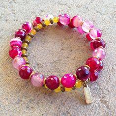 Bracelets - Grounding And Joy, Pink Agate And Yellow Jade 27 Bead Wrap Mala Bracelet™