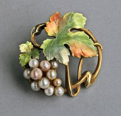 Art Nouveau Grape Vine Brooch BIPPART, GRISCOM & OSBORN (Newark) Gold Enamel Pearl