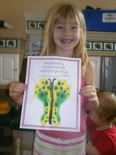 Frame-able butterfly footprint craft with boy and girl poem printables. Good for spring, insect, Mother's Day, Father's Day or Grandparent's Day art and craft.