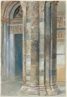 "ARTIST: John Ruskin ~ ""Interior of Lucca Cathedral"" 1879 (watercolour) - Beautiful Architecture, Architecture Details, Vintage Architecture, Bleu Pale, John Ruskin, Pre Raphaelite, 6 Photos, Museum Of Fine Arts, Victorian Era"