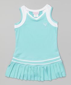 c7102594f34 Aqua  amp  White Ruffle Dress - Toddler  amp  Girls by Little Miss Tennis