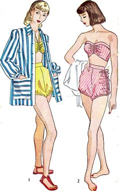 Glam 2 Pc Bathing Suit and Beach Coat Coverup Pattern SIMPLICITY 1965 Strapless or Halter Top Swimsuit High Waist Shirred Sides Swimming Trunks Pin Up Style Swim Wear Vintage Sewing Pattern-Authentic vintage sewing patterns: This is a fabulous Lucy Fashion, 1940s Fashion, Vintage Fashion, Vintage Swim, Vintage Lingerie, Vintage Sewing Patterns, Clothing Patterns, 1940s Costume, Halter Top Swimsuits