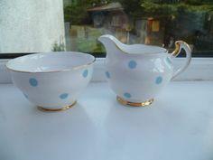 Royal Vale China Lt Blue Polka Dot Creamer & Sugar Set, GBP 10.00 (approx $15.43 US) at rothnut on ebay, 9/11/15