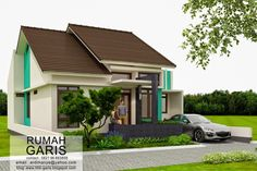 Three Bedroom House Design in 150 Sq. Bungalow House Plans, Small House Plans, New Home Designs, Home Design Plans, Storage Building Plans, Modern Minimalist House, Three Bedroom House, Home Themes, Small House Design