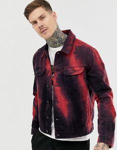 Shop ASOS DESIGN oversized denim jacket in red tie dye at ASOS. Denim Dye, Tie Dye Jeans, How To Tie Dye, Asos, Oversized Denim Jacket, Tie Dye Designs, Denim Fashion, Fashion Hub, Ladies Dress Design