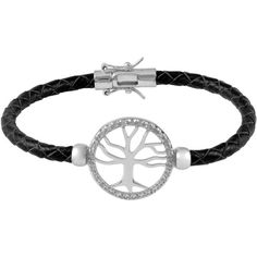 Jewel Exclusive Sterling Silver  Diamond Leather Braid Tree of Life... ($60) ❤ liked on Polyvore featuring jewelry, bracelets, multi, diamond bangle, woven bracelet, sterling silver diamond bracelet, braided leather bracelet and sterling silver hinged bracelet
