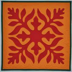 Hawaiian quilt block, applique by Diane (Persnickety Quilts), quilted by Barb Vedder | Fun with Barb