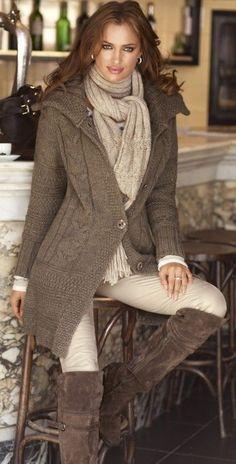 Shop this look on Lookastic:  http://lookastic.com/women/looks/over-the-knee-boots-skinny-pants-cardigan-long-sleeve-t-shirt-scarf/5827  — Brown Suede Over The Knee Boots  — Beige Skinny Pants  — Brown Knit Cardigan  — White Long Sleeve T-shirt  — Beige Knit Scarf