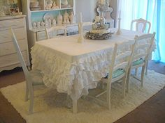 Not So Shabby - She used a twin bed skirt for a tablecloth! Cute!