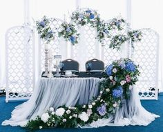 27 Cool Sweetheart Wedding Table Backdrops To Try: a cool folding screen with lilac, blush and blue blooms and greenery Floral Wedding, Wedding Colors, Wedding Flowers, Wedding Stage, Wedding Events, Backdrop Wedding, Sweetheart Table Backdrop, Anniversaire Harry Potter, Bridal Table