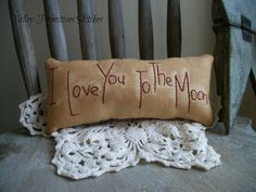 I Love You To The Moon Pillow Valentine's Day by valleyprimitives, $8.00