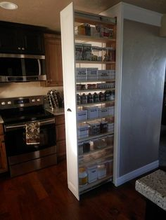 pull out pantry, closet, kitchen cabinets, kitchen design