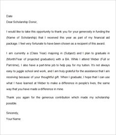 Sample Thank You Letter For Scholarship   Google Search