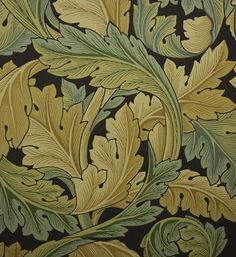 Acanthus Floral Wallpaper A large design floral wallpaper on charcoal with…