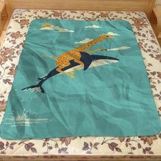 Best Design Shark And Giraffe Art Custom Blanket