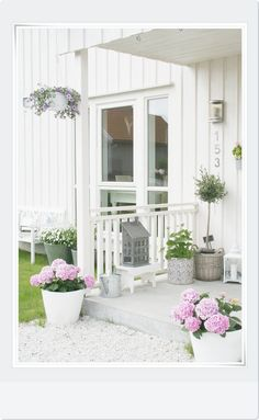 White planters with pink flowers. Too cute !!
