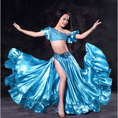 2017 New Arrival high grade kid girls Bellydance performance Costume Wuchieal Brand Belly Dance Sexy top+skirt suits Belly Dancer Costumes, Girls Dance Costumes, Belly Dancers, Dance Outfits, Dance Dresses, Outfits Barn, Dress Attire, Cute Girl Outfits, Blouse And Skirt