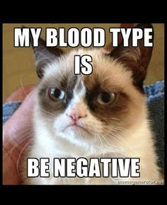 My blood type is Be Negative.